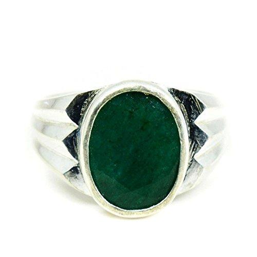 Jewelryonclick Unisex Herren Damen - Oval Green Natürlicher Smaragd