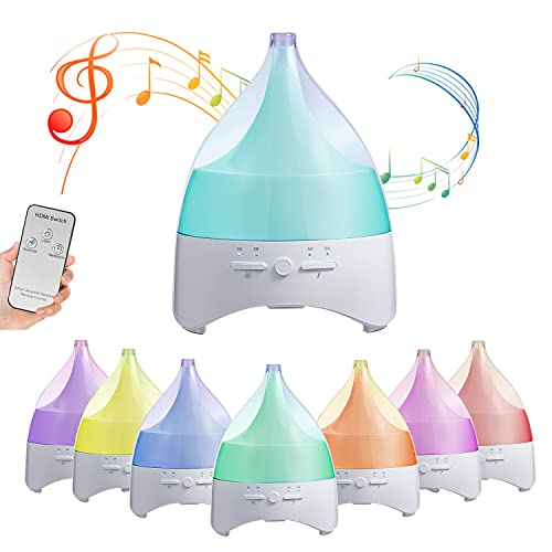 Difusor de aroma, difusores de aceite aromático, 300 ml, humidificador ultrasónico, lámpara de fragancia, sin agua, apagado automático, difusor con 8 colores de luz nocturna LED