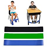 Pack of 3 Chair Bands for Kids with Fidgety Feet Fidget Bands for Kids with Sensory ADHD ADD SPD Autism Sensory Needs Natural Latex Stretchy Foot Bands for Home Classroom Chairs School Desks (3 Pack)