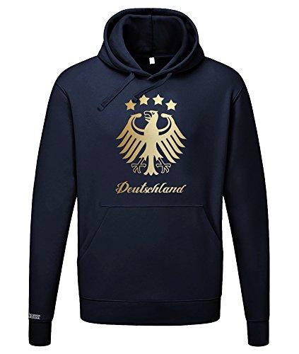 Jayess WM 2018 - Deutschland Adler - Gold - Herren UND Damen Hoodie in Navy by Gr. L
