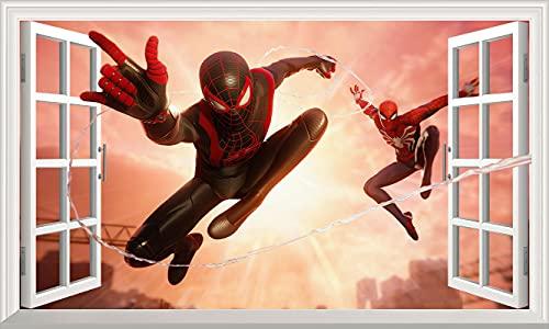 DT Poster Marvel Avengers superhéroe etiqueta de la pared 3d ventana Spiderman pared calcomanía vinilo adhesivo autoadhesivo dormitorio niño niña 100x60cm grande