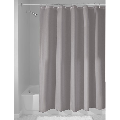 Price comparison product image iDesign Waterproof Shower Curtain,  Long Shower Curtain Made of Polyester,  Stylish and Functional Shower Liner for Bathroom,  Grey