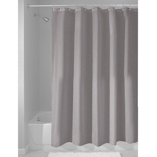 iDesign Duschvorhang aus Stoff, waschbarer Badewannenvorhang aus Polyester in der Größe 183,0 cm x 183,0 cm, wasserdichter Vorhang mit verstärktem Saum, grau