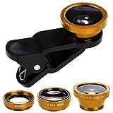 Telefon Kamera-Objektiv 3 in 1 Telefon Fisheye Makro-Kamera-Objektiv-Clip auf Handy-Objektiv-Kits, HD Weitwinkel usw iOS Android Universal