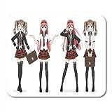Luancrop Mauspads Schöne Anime Manga Schoolgirl Plaid Red Rock und Krawatte Mauspad für Notebooks, Desktop-Computer Matten Bürobedarf