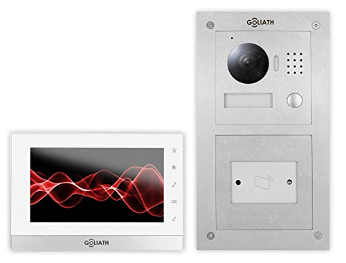 GOLIATH IP Türsprechanlage, Unterputz RFID Türstation, Edelstahl, HD Kamera, App Türöffner-Funktion, Schlüsselloser Zugang, Video-Speicher, 1 Familienhaus Set, AV-VTC53