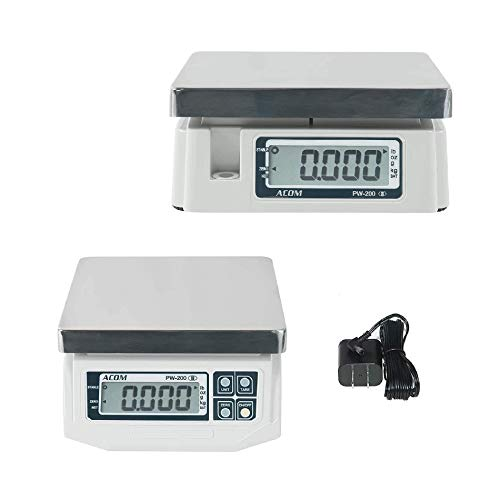 VisionTechShop ACOM PW-200 Digital Portion Control Scale, Dual Display, Lb/Oz/Kg/g Switchable, Low Profile Design, 6lb Capacity, 0.002lb Readability, NTEP Legal for Trade