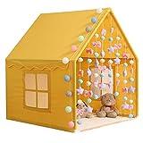 ANQIY Decoración Tiendas de campaña, Casa Gasa Cortina Princesa Castillo Chico Casa De Juegos Luces De Estrellas Interior Niños (Color : Amarillo)