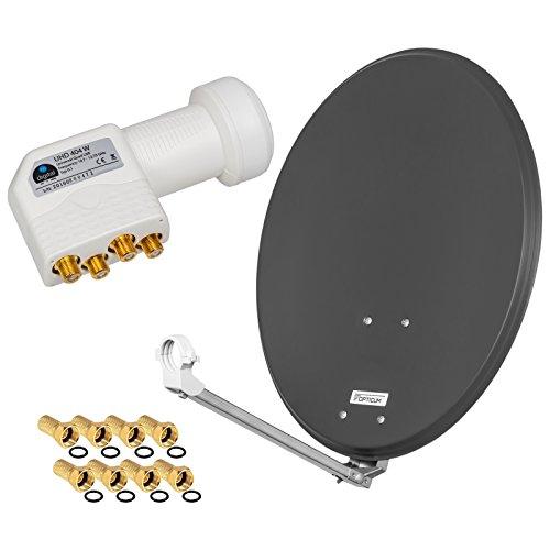 HD Digital SAT Anlage 60cm ALU Spiegel Schüssel Anthrazit + Quad LNB 4 Teilnehmer zum Empfang von DVB-S/S2 Full HD 3D 4K Ultra HD (UHD) Signale + Stecker Gratis dazu im Set