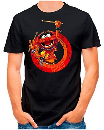 OM3® - Wicked-Drummer - T-Shirt | Herren | Schlagzeuger Drums Heavy Metal Rock | Schwarz, S