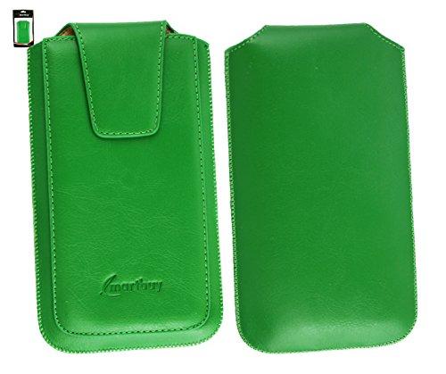Emartbuy® Siswoo i7 Cooper 5 Zoll Smartphone Sleek Serie Grün Luxury PU LederTasche Hülle Schutzhülle Case Cover ( Größe 4XL ) Mit Ausziehhilfe