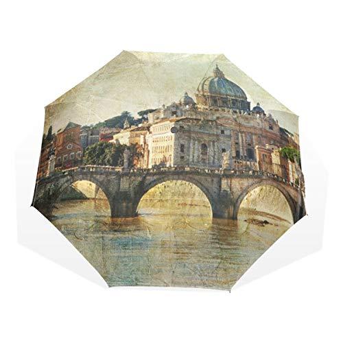LASINSU Regenschirm,Italiener San Pietro Rome Retro angeredeter Weinlese Reise Feiertag berühmtes Italien Stadtbild Touristen Äußeres,Faltbar Kompakt Sonnenschirm UV Schutz Winddicht Regenschirm