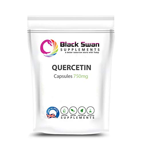 Black Swan Quercetin Supplement – with Anti-oxidant and Anti-inflammatory Properties – Blood Pressure Level – Healthy Joints – Heart Health 750mg Veg Capsule (60 caps)