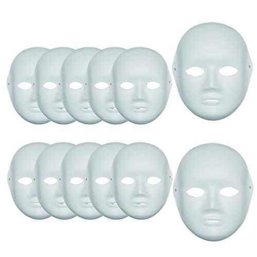 12 Máscaras Blancas para Pintar de Pulpa DIY para Disfraces de Carnaval Halloween Cosplay Bricolaje (Mujer*12)