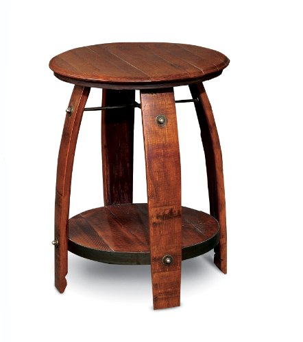 2-Day Designs Barrel Side Table with Shelf
