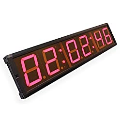 EU 4 6 Digits Clock Red Color Hours Minutes Seconds (Red)