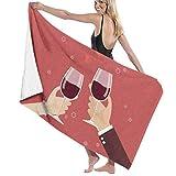 Flimy Na Día de San Valentín Hombre y Mujer Tostado Copas de Vino Toalla de Playa Piscina Toalla de baño de Gran tamaño