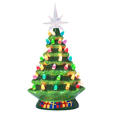 10 Inch Pre-Lit Hand-Painted Ceramic Vintage Tabletop Artificial Tree Decor with Multicolored Lights, Star Topper...