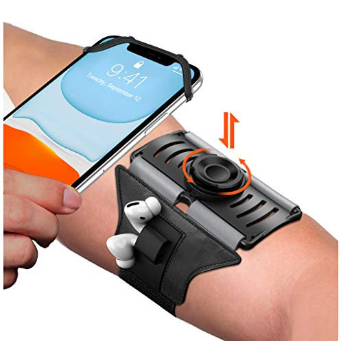 VUP Upgraded Running Armband Detachable & 360°Rotation with AirPods/AirPods Pro Holder Phone Armband for iPhone, Samsung, All Screen Friendly Fits All 4-6.5 Inch Smartphones for Running Biking (Black)