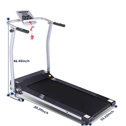 Flyerstoy Folding Electric Treadmill Exercise Equipment Walking Running Machine with 'Pacer Control' & Heart Rate System (1.5HP-Slivery) Treadmills