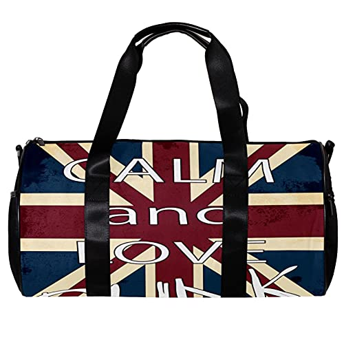 Borsone per donne e uomini bandiera inglese Keep Calm and Love Sports Gym Tote Bag Weekend Pernottamento Viaggio Borsa Borsa Outdoor Bagagli