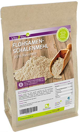 Flohsamenschalen-Mehl 99% Reinheit - 750g Zippbeutel - indische Flohsamen-schalen gemahlen - Ideal zum Backen - Premium Qualität