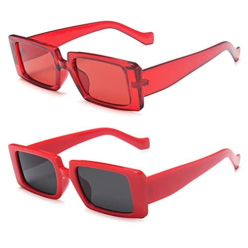 Grainas Gafas de sol rectangulares para mujer y hombre, unisex, estilo vintage, delgadas, protección UV400, color Rojo, talla M