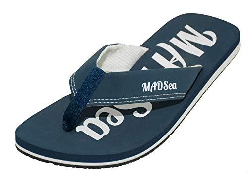 MADSea Damen Herren Zehenstegpantolette Wave Zehentrenner dunkelblau weiß, Größe:46 EU, Farbe:dunkelblau/weiß