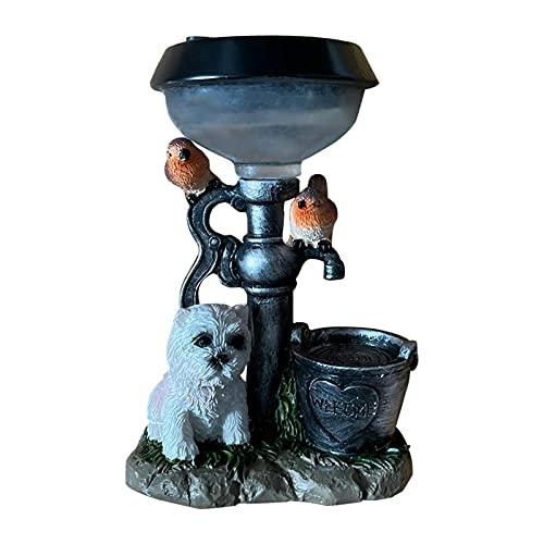 likeitwell Lampes Solaire, Sculpture d'animaux Solar Light Chiot Chat Chien Dog Statue Décor du Jardin Lampes, Lampes Solaires D'extérieur pour Jardin, Allée, Terrasse, Cour Proficient