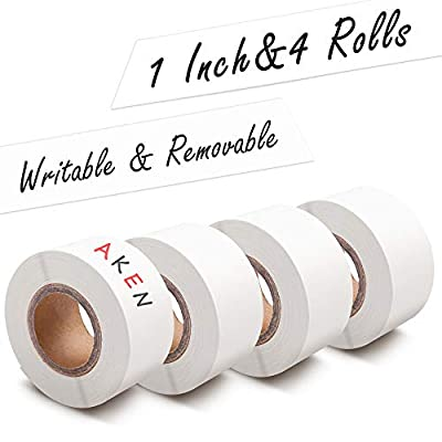 AKEN 1 Inch Removable White Writable Label Tape, Wide Labeling Tape, Paper Handwritten Console Adhesive Labeling Tapes, Food Freezer Masking Tape for Kitchen, Writeon Laboratory Writing Labels
