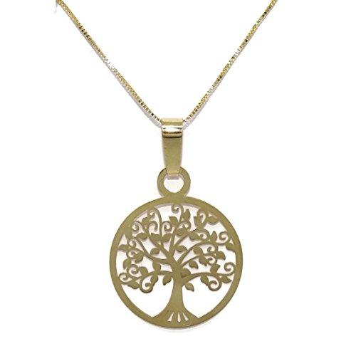 Never Say Never Collar de Oro Amarillo de 18k con árbol de la Vida de 2.00cm de diámetro y Cadena Veneciana de 45cm. Cierre reasa
