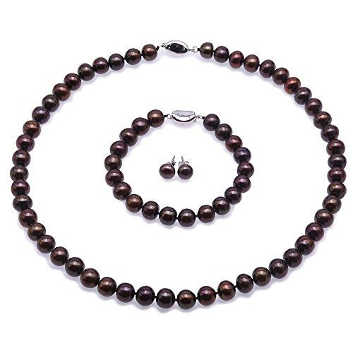 JYX Perle Set Süsswasser Perlenkette Set - 9-10mm AA Flache Runde Süßwasserperlen Halskette, Armband und Ohrstecker Set - (Dunkel-Kaffee)