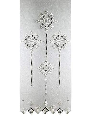Zenoni & Colombi Par de cortinas bordadas de punto antiguo Toscano fabricadas en Italia (80 x 100...