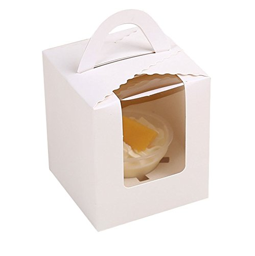 Chilly Cupcake Boxes Cupcake Containers Carriers Bakery Cake Box, Set of 10 White (1 Holder)