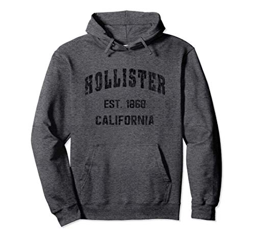 Hollister, California Home Souvenir . EST. 1868 . blue Pullover Hoodie