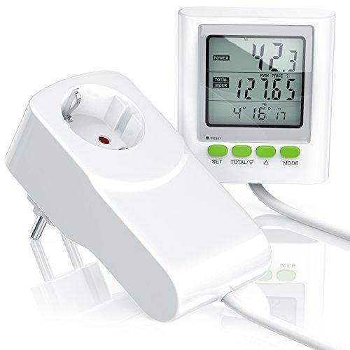 CSL - Stromkostenmessgerät Energiekostenmessgerät Stromverbrauchszähler inkl. Kabelverlängerung - Power Cost Monitor - Datum Uhrzeit Kosten CO2-Einstellungen - 3680W