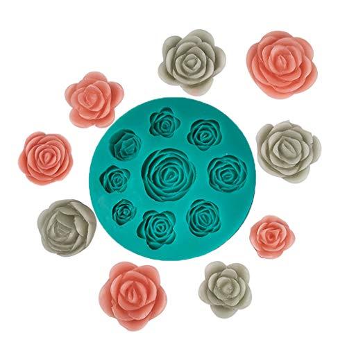 NINGYE Moldes de silicona de flores de rosa 3D para chocolate Fondant molde herramienta de hornear pastel