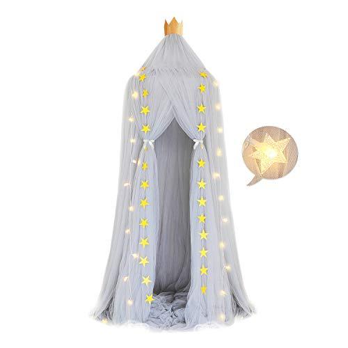 Baby Baldachin Betthimmel Kinder - Bettvorhang Baumwolle Spiel Zelt mit 40 LEDs Warme Lichterketten Sternen Dekoration Hängende Mückennetz für Schlafzimmer Kinderzimmer Höhe 240cm - Grau