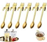 6 cuillères à café en forme de chat en acier inoxydable de haute qualité, cuillère à...