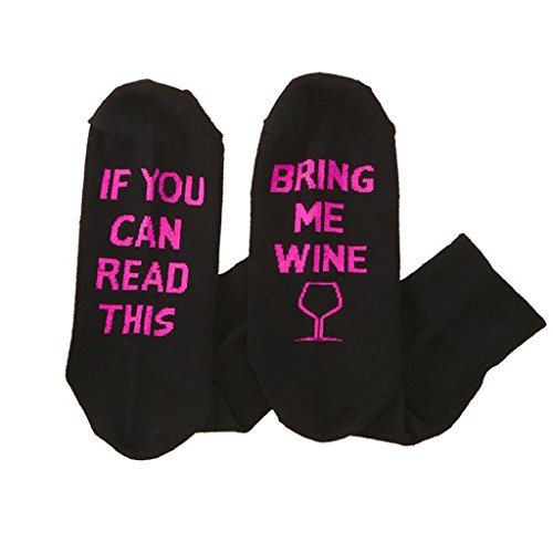 DOINSHOP Unisex Creative Fashion Socks IF YOU CAN READ THIS Print Knitting Socks (Bring Me Wine)