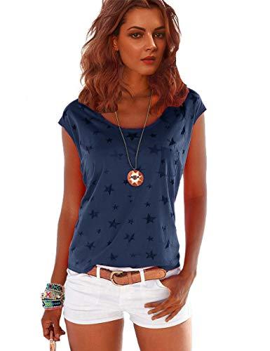 TrendiMax Damen T-Shirt Kurzarm Locker Bluse Lässiges Sommer Shirt mit Allover-Sternen Druck - Dunkelblau - M