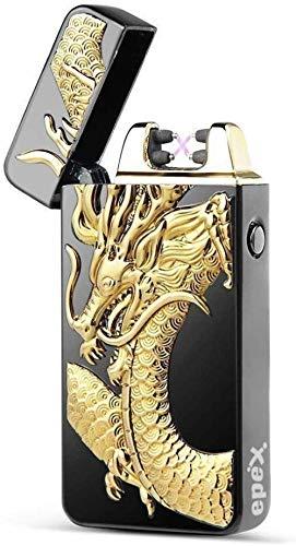 xinzehao USB elektrische dubbele boog vlamloze zaklamp oplaadbare winddichte plasma aansteker 3D zwarte draak