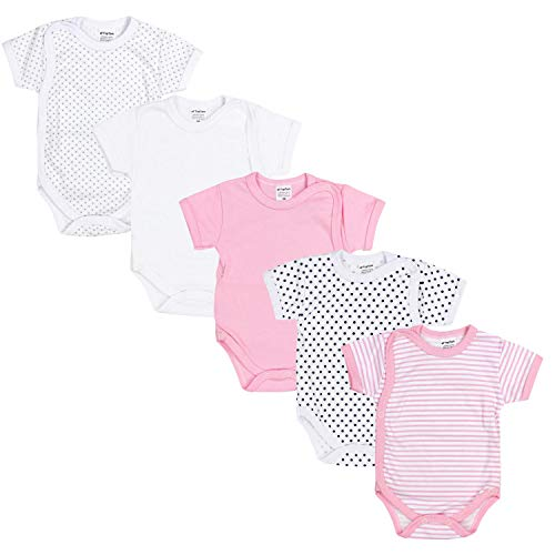 TupTam Baby Mädchen Kurzarm Wickelbody Baumwolle 5er Set, Farbe: Farbenmix 5, Größe: 80