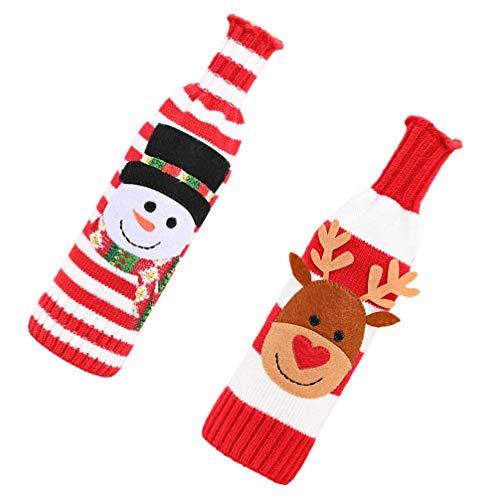 BESTonZON 2pcs Practical Lightweight Reusable Wine Bottle Sweater Bottle Cover Christmas Hotel Home Restaurant