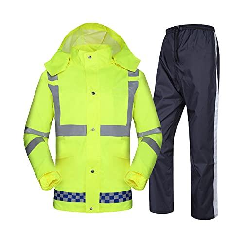 XFSHKJS Windproof Work Rain Suit for Men Women(Rain Gear Jacket & Trouser Suit), Waterproof Breathable Raincoat,Raincoat for Hiking Travel Outdoor (Color : Green, Size : L)