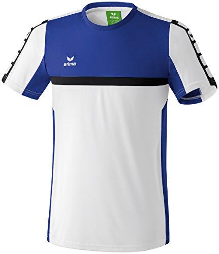 Erima Classic 5-C T-Shirt Homme Blanc/Bleu Indigo/Noir FR : XL (Taille Fabricant : XL)