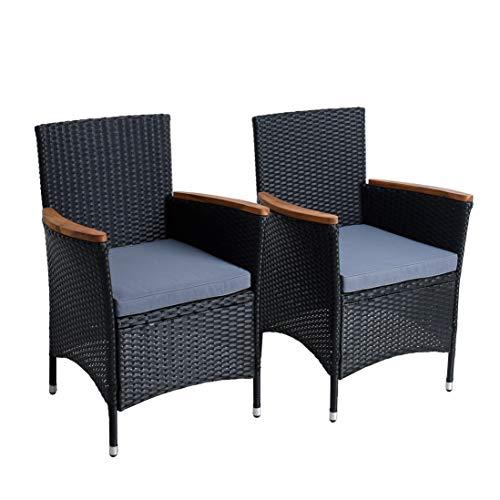 IHD Polyrattan Gartenstuhl 2er Set Akazie Holz Rattan Stuhl Garten Sessel Stuhlset Balkonstühle Terrassenstühle Balkonsessel (Schwarz)