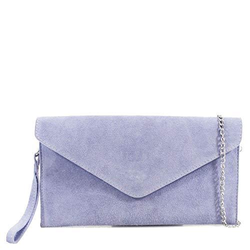 Ladies Real Leather Envelope Clutch Evening Bags Women's Suede Shoulder Handbag (Lilac)