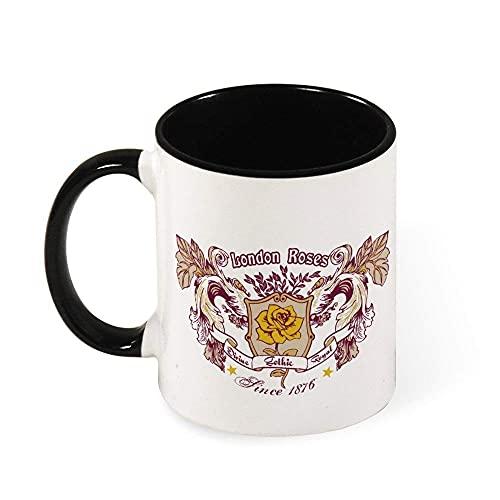 N\A Taza de Dos Tonos Taza Negra Londres Rosas Gran Regalo Taza Divertida Taza de café Personalizada de cerámica