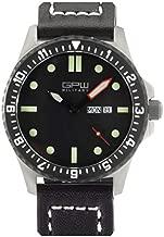 German Military Titanium Watch. GPW Day Date. Sapphire Crystal. Black Leatherstrap. 200M W/R